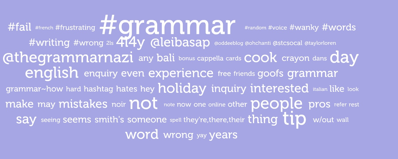 Grammar tag cloud on Visible Tweets