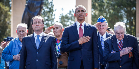 Francois Hollande and Barack Obama with D-Day Veterans in Normandy. June 6, 2014