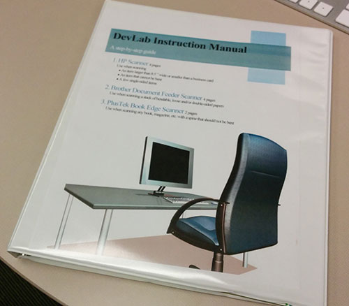 The DevLab Instruction Manual. Especially helpful for heading off Adobe Acrobat crashes with the book-edge scanner, in the experience of this author.