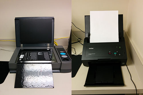 At left: the book-edge scanner, for easy scanning from books. At right, the document scanner, for fast, two-sided scanning of stacks of paper.