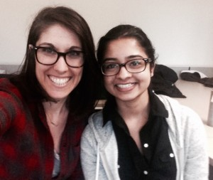 Lakshmi Raju (right) with Phoebe Bronstein, her instructor for ENGL 1101 and 1102.