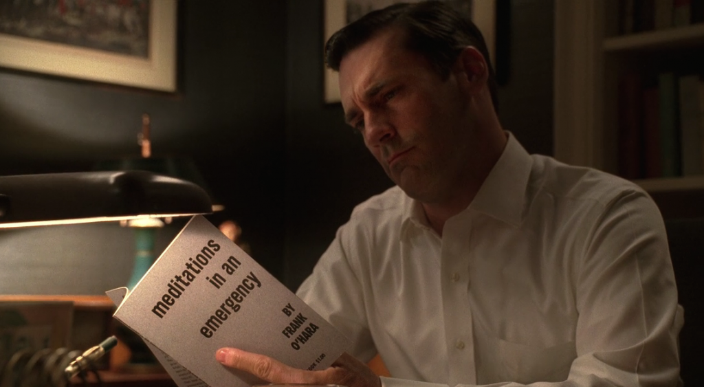 Don Draper, ad man, reads Frank O'Hara. Screen capture via Anna Ioanes.