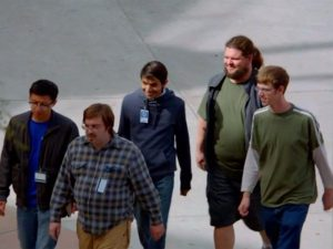 "Screen capture from Silicon Valley demonstrating a stereotypical ""group of five"" programmers."