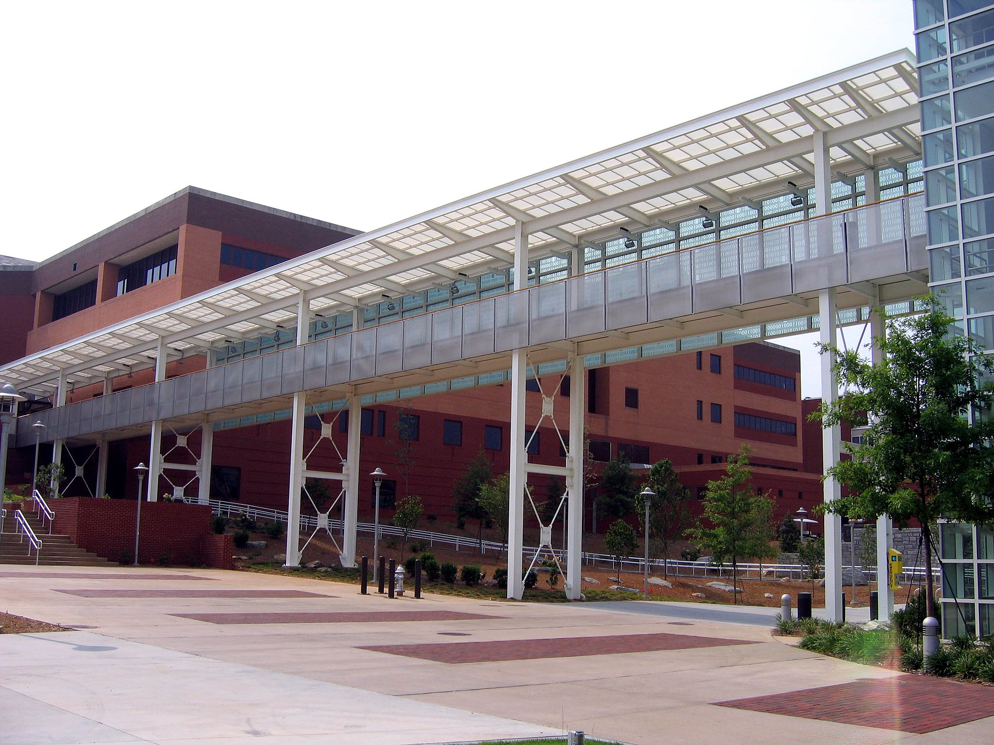 A pedestrian bridge from the College of Computing Building to the Klaus Advanced Computing Building at the Georgia Institute of Technology