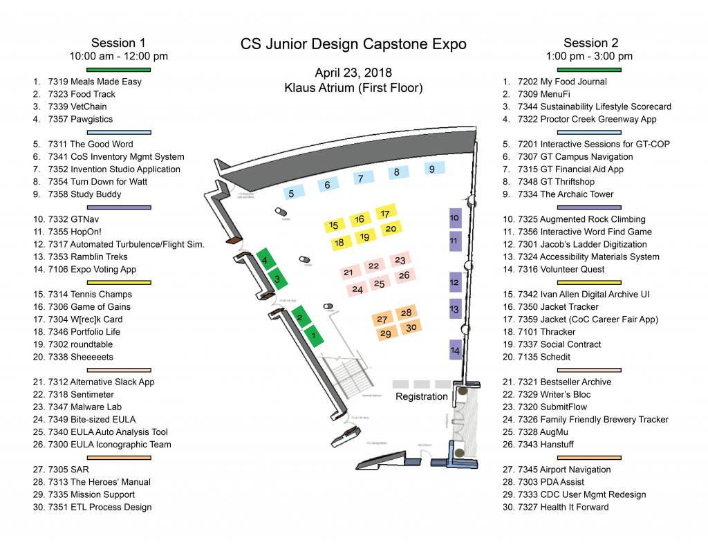 A floor map of the Klaus atrium shows the table layout for the expo. A list of teams and projects appear on each side of the map.