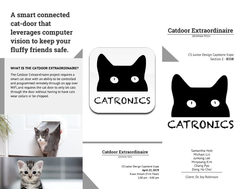 "Front of a tri-fold brochure for Team 8338's Catdoor Extraordinaire project. The brochure includes a ""Catronics"" project logo, information on the team members, and images of cats."