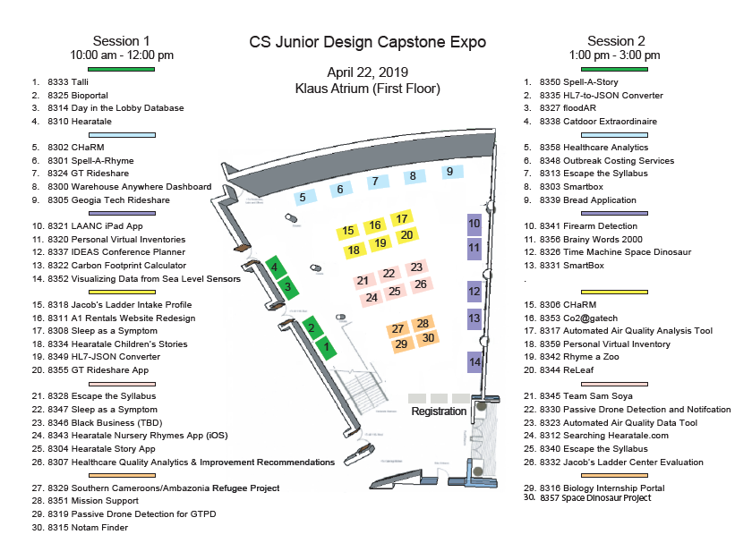 Floor plan of teams and tables for the Spring 2019 Expo