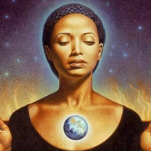 A young black woman meditating on the earth