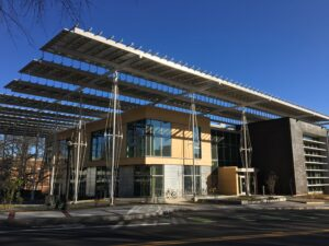 A building covered in solar panels