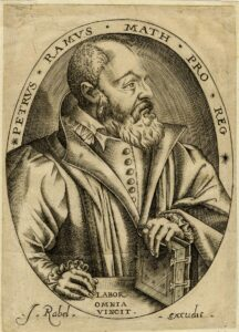 Portrait of French humanist Pierre de la Ramée. half-length, in profile to the right, his left hand placed on a book; in oval