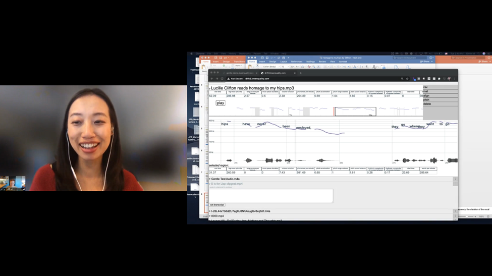 A woman demonstrates how to use digital tools on a video call.